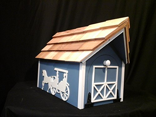 Painted Amish Buggy - Amish Handmade Handcrafted Rural Mailbox w Flag USPS Lt. Blue Horse & Buggy