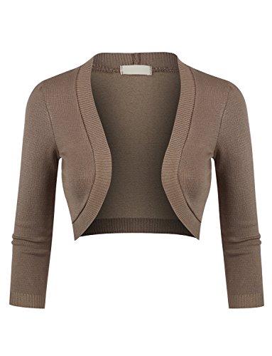 LE3NO Womens Plus size 3/4 Sleeve Cropped Bolero Knit Cardigan