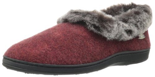 Acorn Women's Faux Chinchilla Collar Slipper,Crackleberry,Small Wide/5-6 C(D) US by Acorn