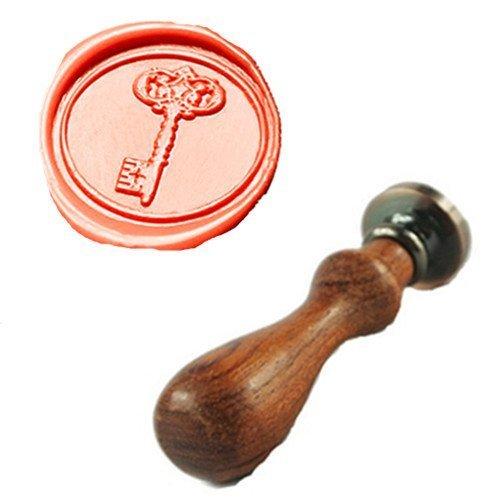 MDLG Vintage Key Custom Picture Logo Wedding Invitation Wax Seal Sealing Stamp Rosewood Handle Set ()