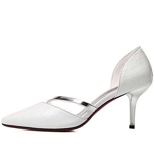 Nine Seven Cuero Moda Puntiagudos Tacones de Aguja de Vestir para Mujer blanco