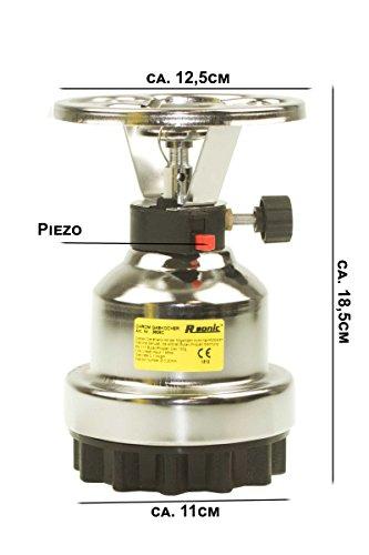 RSONIC® Campingkocher Chrome / Metall Ausführung mit Piezo