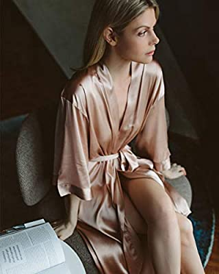Nudwear Silk Robe for Women Luxurious Charmeuse Silk Robe with Traditional Sleeves One Size Soft