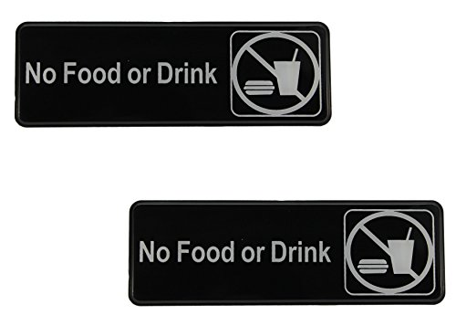 Set of 2 No Food or Drink Signs with Adhesive Backing