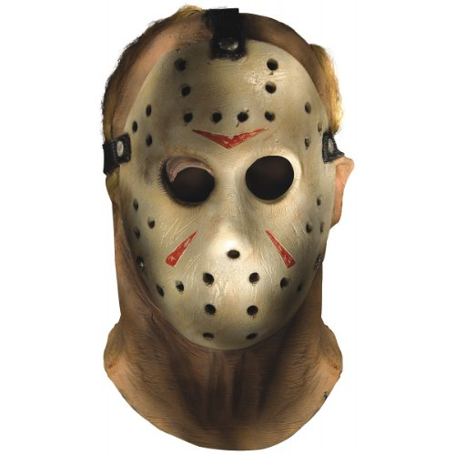 Deluxe Jason Adult Costumes Mask (Friday The 13th Jason Voorhees Overhead Mask, Gray, One Size)