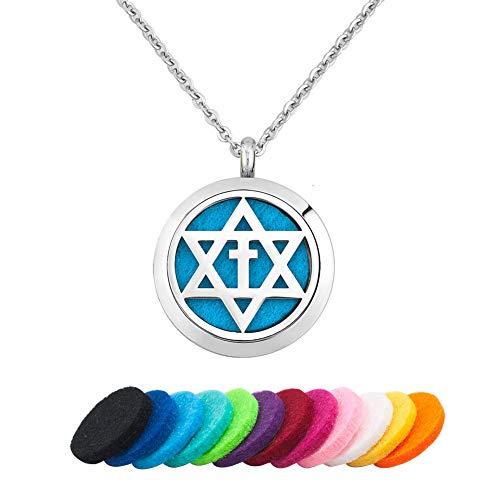 LoEnMe Jewelry Aromatherapy Essential Oil Diffuser Necklace Star of David Jewish Cross Locket Pendant Keepsake (Claddagh Keepsake)