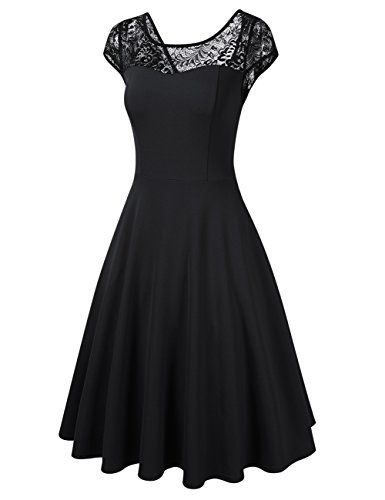 Cocktail Floral Line GlorySunshine Party Dress Sleeveless Women Neck Black Pleated A Lace Scoop Sp5wzfq