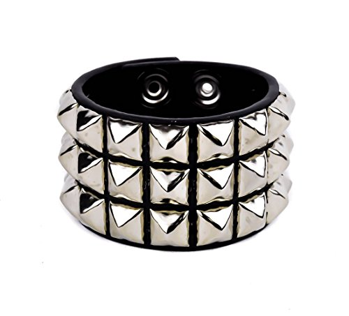 Silver Stud 3 Row Wristband Bracelet Halloween Gothic Emo Rocker -