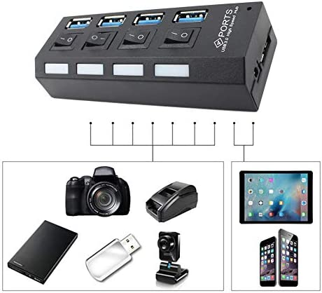 USB 3.0 Hub USB 3.0 High Speed Hub with Separate Four Ports Compact Lightweight Power Adapter Hub with Power Supply