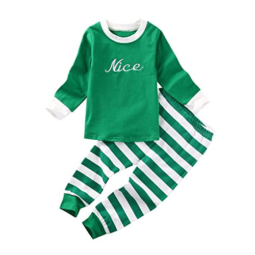 Goddessvan Christmas Kids Baby Girls Boys Letter Printed Tops+Stripe Pants 2Pcs Set Outfit Clothes (12M, Green)