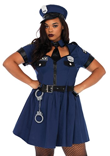 Leg Avenue Women's Plus Size Sexy Police Officer Costume, Blue, -
