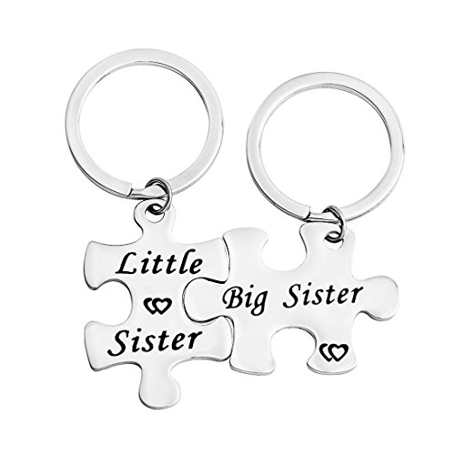 Gzrlyf Big Sister Little Sister Keychain Puzzle Pieces Gift Couples Jewelry Sister In Law Gift (Little Gifts Keychain)