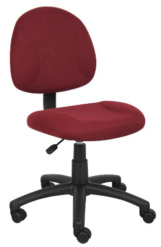 Burgundy Office Chairs - Boss Office Products B315-BY Perfect Posture Delux Fabric Task Chair without Arms in Burgundy
