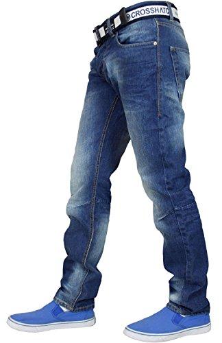 Dritta Cotone Jeans Cintura Gratis Con Crosshatch Uomo Regular Gamitto Di Mid Gamba Denim Wash Marca 4AxItwqx