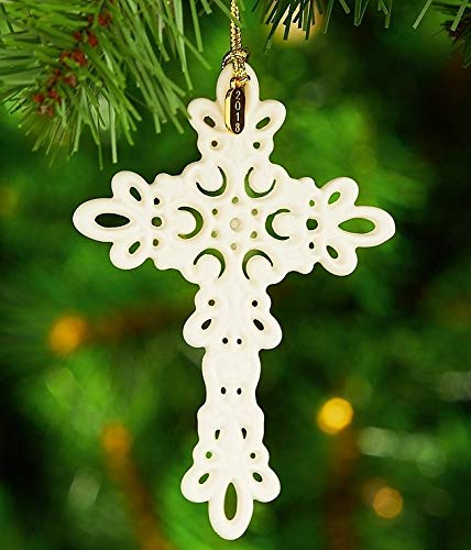 Lenox 2018 Snow Fantasies Porcelain Pierced Ivory Cross Ornament New in box