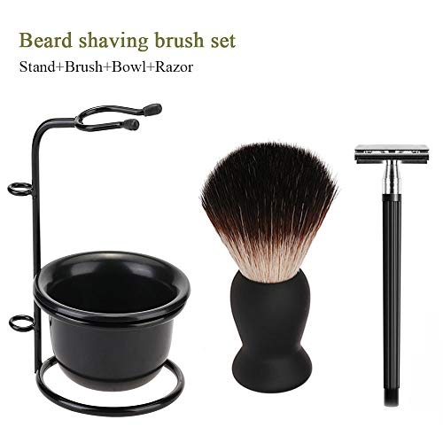 Shaving Sets for Men with Brush, 4in1 Kalolary Men Fine Badger Bristle Shave Brush Black Wood Handle Soap Bowl, Stainless Steel Shaving Stand Natural & Organic Wet Shaving brush ()
