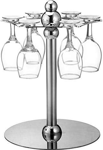 ゴブレットホルダー 芸術的なエレガント6フックシルバークロームトーンメタルワイングラスホルダースタンド脚付きラックラック空気乾燥システム ワイングラスホルダー (Color : Metallic, Size : 35CM)