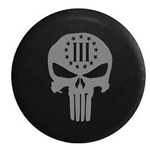 Stealth - Punisher Skull 3% NRA Biker Stars and Stripes Spare Tire Cover OEM Vinyl Black 32 in