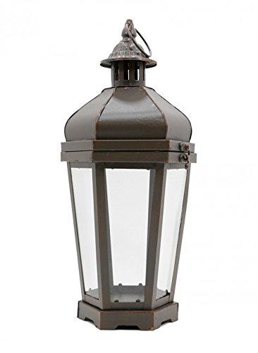 Burnished Brown Metal & Glass Tea Light Lantern