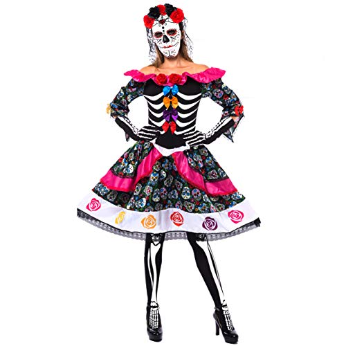 Day Of Dead Halloween Mask (Spooktacular Creations Women's Day of The Dead Spanish Costume Set for Halloween Lady Dress Up Party, Dia de Los Muertos (Medium))