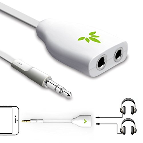 Avantree Two Way 3.5mm Dual Headphone Jack Splitter, AUX Stereo Earphone Earbuds Y Audio Split Adapter Cable, for iPhone, iPad, Samsung Phones and Tablets - White White Dual Telephone
