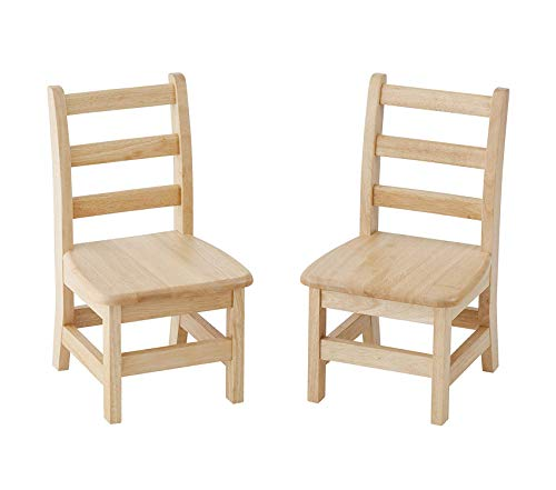 Wood & Style Office Home Furniture Premium Hardwood 3-Rung Ladderback Chair, Natural (2-Pack)