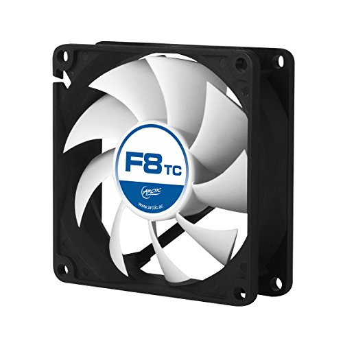 ARCTIC F8 TC - Temperature-Controlled 80 mm Case Fan | Standard Case Cooler | Intelligent Heat Detector regulates RPM | Push- or Pull -