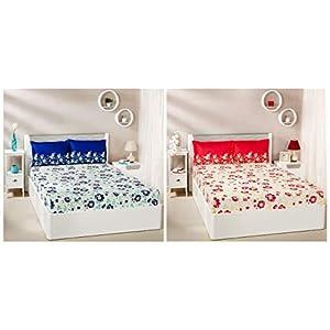Amazon Brand – Solimo Jasmine Zest 144 TC 100% Cotton Double Bedsheet with 2 Pillow Covers, Blue + Jasmine Zest 144 TC 100% Cotton Double Bedsheet with 2 Pillow Covers, Red Combo