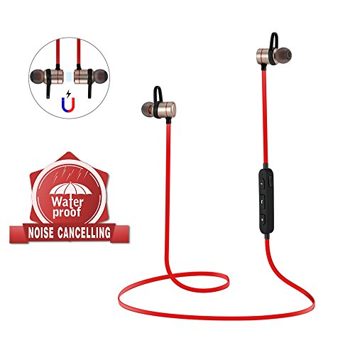 Bluetooth Wireless Earphones with Mic Wireless Headphones Magnetic Earbuds Sport Lightweight Noise Cancelling Headsets(Red)