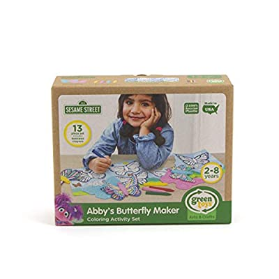 Green Toys Sesame Street Abby's Butterfly Maker Coloring Activity Set, Multicolor: Toys & Games