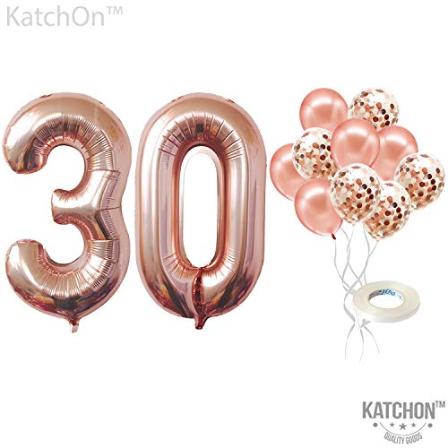 30th Birthday Balloons (Rose Gold 30th Birthday Decorations - 30 Balloons | Large Mylar Foil Balloon and Confetti Latex Balloons | Real Rose Gold Party Supplies | Great for 30 Years Birthday, Anniversary,)