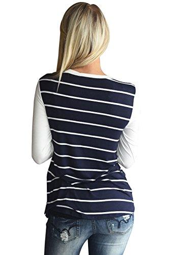 Neuf Bleu marine Blanc à rayures à paillettes Poche à manches longues Blouse de soirée pour femme Tenue décontractée d'été Taille UK 10EU 38