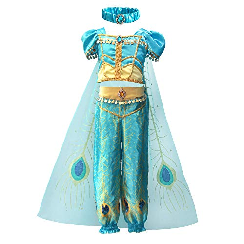 Mukola Girls Princess Jasmine Costume Peacock Dress Up Halloween Cosplay Outfit ()