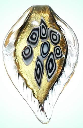 P1222 Black & White Geometric Gold Sparkle 62mm Lampwork Glass Leaf Drop Pendant