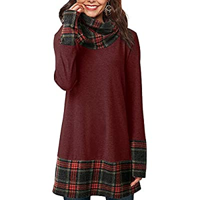 YOUCOO Women Long Tunic Tops Plaid Splice Pullover Sweatshirt Cowl Neck Loose Blouse