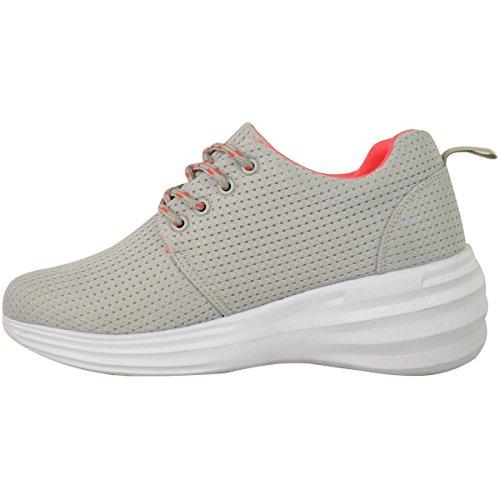 Moda Thirsty Mujeres Sneakers Lace Up Moda Zapatillas De Deporte Ocultas Wedge Heel Gym Size Grey