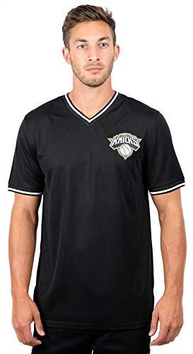 Ultra Game NBA New York Knicks Men's Jersey T-Shirt V-Neck Mesh Short Sleeve Tee Shirt, Large, - New Jersey Knicks York
