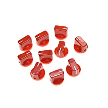 KAISH 10pcs Guitar AMP Effect Pedal Knobs Pointer Knob with Set Screw Red