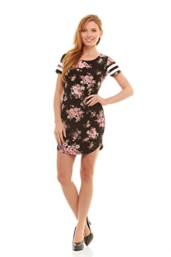 Football Dress - No Comment Juniors Womens Scoop Neck Mini Dress With Football Stripe Short Sleeves Black/Rose Bouquet Print Size L