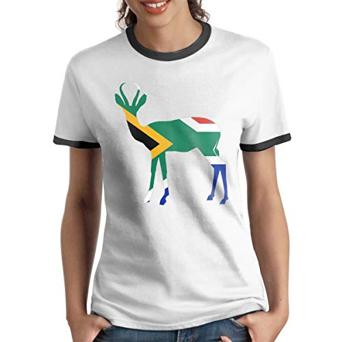 1154ba126f2 Women's Short Sleeve Ringer T-Shirt South Africa Flag Springbok Popular  Summer Raglan Baseball Tee