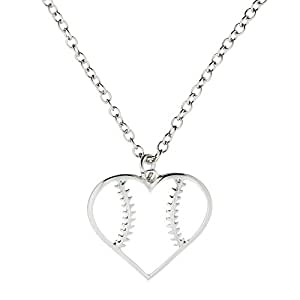 Baseball Heart Pendant Necklace - Jewelry Gift For Moms Fans Softball