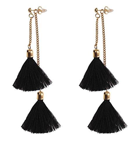 Mina Gold Contrast Drop Fringe Tassel 3.5 Inch Drop Long Shoulder Duster Earring Removable Adjustable Festival Black Ear Jacket