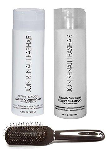 3 PC Bundle: Jon Renau Argan Smooth Shampoo, Conditioner and Envy Wig Brush