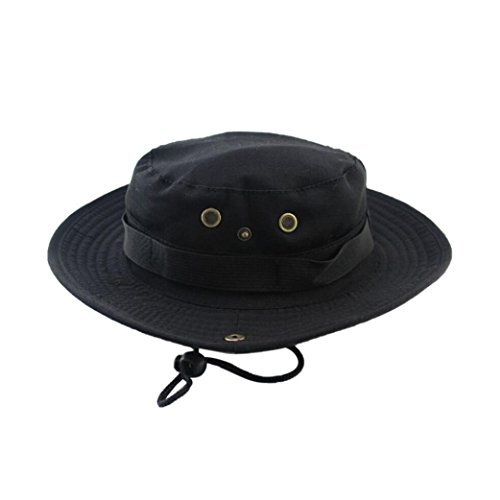 (Fishing Sun Boonie Hat Waterproof Summer UV Protection Safari Cap Outdoor Hunting Hat (Black))
