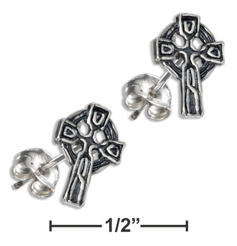 Sterling Silver Mini Celtic Cross Earrings