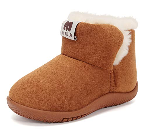 Casual Boots for Boys Toddler Size 9 M Brown Suede Fur Lined Winter Warm Kids Shoes