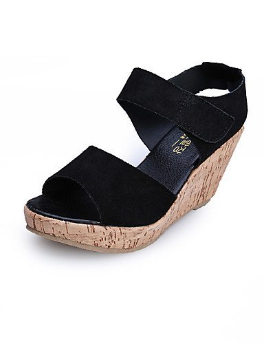 ShangYi Womens Shoes Leather Wedge Heel Wedges / Peep Toe / Slingback / Open Toe Sandals Dress / Casual More Colors Available Purple