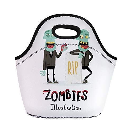 Semtomn Lunch Bags Couple Zombie Man Near Rip Gravestone in Cartoon Halloween Neoprene Lunch Bag Lunchbox Tote Bag Portable Picnic Bag Cooler Bag -