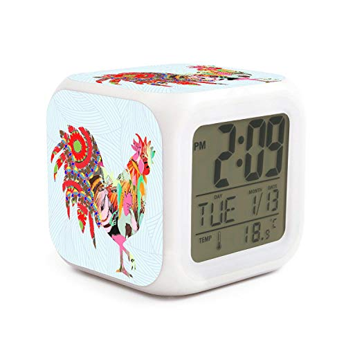 (AnkasAsasd Cock Rooster of Colorful Feathers Alarm Clock for Kids, LED Digital Bedroom Alarm Clock Easy Setting Cube Wake Up Clocks Soft Nightlight Large Display Ascending Sound)