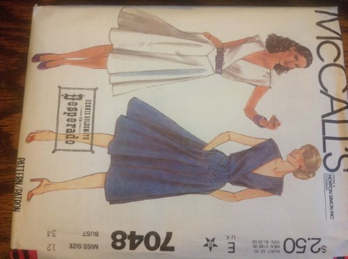Mccalls 7048 Dennis Goldsmith for Desperado Dress, Sewing Pattern for Misses 12, Pullover Elastic Waist Dress Has Has Surplice Bodice Attached to Front Hip Yoke , Gathered Shoulder Seams, Side - Surplice Yoke